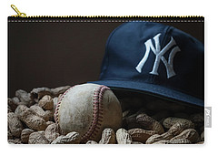Carry-all Pouch featuring the photograph Yankee Cap Baseball And Peanuts by Terry DeLuco