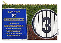 Yankee Legends Number 3 Carry-all Pouch by David Lee Thompson
