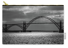 Yaquina Bay Bridge Black And White Carry-all Pouch by James Eddy
