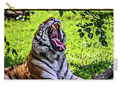 Carry-all Pouch featuring the photograph Yawning Tiger by Joann Copeland-Paul