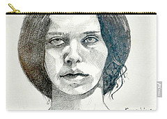 Carry-all Pouch featuring the drawing Yelena by Ray Agius