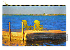 Yellow Adirondack Chairs On Dock In Florida Keys Carry-all Pouch