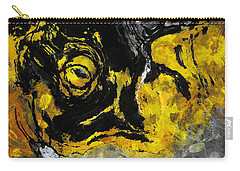 Carry-all Pouch featuring the painting Yellow And Black Abstract Art by Ayse Deniz