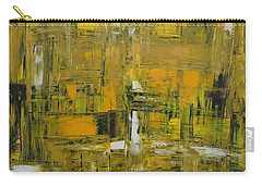 Yellow And Black Abstract Carry-all Pouch
