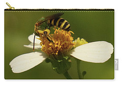 Yellow And Black Bee On Flower. Carry-all Pouch