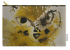 Yellow And Brown Cat Carry-all Pouch by AJ Brown