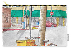 Yellow And Orange Bicycle In Beverly Hills, California Carry-all Pouch
