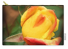 Yellow And Orange Rosebud Carry-all Pouch