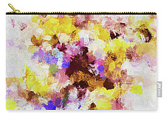 Carry-all Pouch featuring the painting Yellow And Pink Abstract Painting by Ayse Deniz