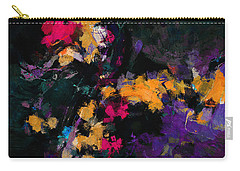 Carry-all Pouch featuring the painting Yellow And Purple Abstract / Modern Painting by Ayse Deniz
