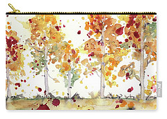 Carry-all Pouch featuring the painting Yellow Aspens by Dawn Derman