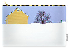 Yellow Barn In Snow Carry-all Pouch by John Vose