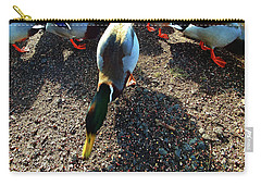 Carry-all Pouch featuring the photograph yellow Billed Duck Feeding by Roger Bester