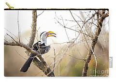 Yellow-billed Hornbill Sitting In A Tree.  Carry-all Pouch by Jane Rix