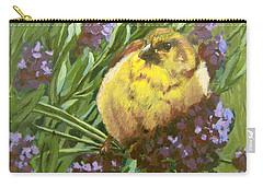 Carry-all Pouch featuring the painting Yellow Bird by Karen Ilari