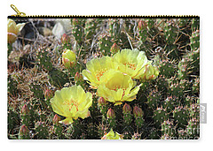 Carry-all Pouch featuring the photograph Yellow Cactus Blooms by Ann E Robson