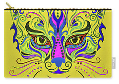 Carry-all Pouch featuring the drawing Yellow Cat by Maja Sokolowska