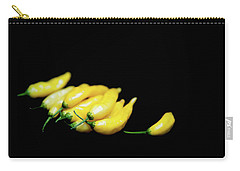 Yellow Chillies On A Black Background Carry-all Pouch