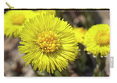 Carry-all Pouch featuring the photograph Yellow Coltsfoot Flowers by Christina Rollo