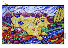 Carry-all Pouch featuring the painting Yellow Cow Jumps The Creek by Dianne  Connolly