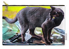 Carry-all Pouch featuring the photograph Yellow Eyed Cat by Madeline Ellis