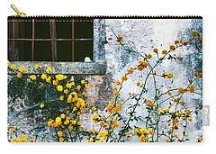 Carry-all Pouch featuring the photograph Yellow Flowers And Window by Silvia Ganora