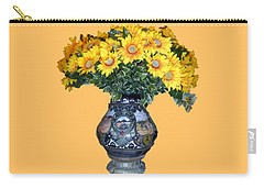 Carry-all Pouch featuring the photograph Yellow Flowers In Vase by Francesca Mackenney