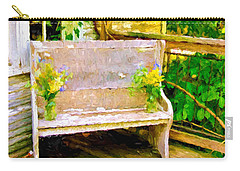 Yellow Flowers On Porch Bench Carry-all Pouch