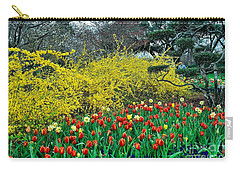 Carry-all Pouch featuring the photograph Yellow Forsythia by Diana Mary Sharpton