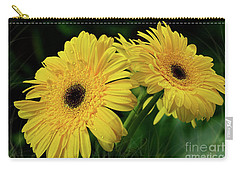 Carry-all Pouch featuring the photograph Yellow Gerbera Daisies By Kaye Menner by Kaye Menner
