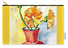Yellow Gerbera Daisies In A Red And Blue Delft Vase Carry-all Pouch