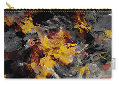 Carry-all Pouch featuring the painting Yellow / Golden Abstract / Surrealist Landscape Painting by Ayse Deniz