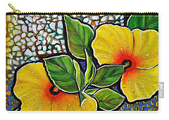 Yellow Hibiscus A Decorative Painting With Mosaic Style On Sale Carry-all Pouch