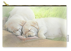 Carry-all Pouch featuring the photograph Yellow Labrador Retriever Puppies Nursing by Jennie Marie Schell