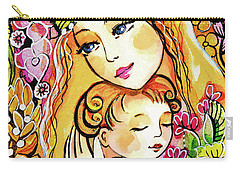 Carry-all Pouch featuring the painting Yellow Madonna With Child by Eva Campbell