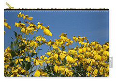 Yellow On Blue Carry-all Pouch by Lois Lepisto