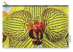 Carry-all Pouch featuring the digital art Yellow Orchid Bloom In Fauvism by Kirt Tisdale