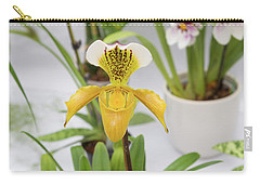 Carry-all Pouch featuring the photograph Yellow Orchid Closeup by Hans Engbers