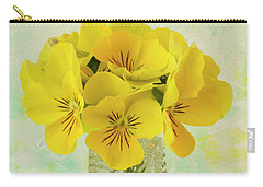 Yellow Pansies In Vase  Carry-all Pouch by Sandra Foster