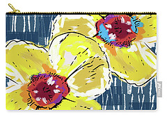 Carry-all Pouch featuring the mixed media Yellow Poppies 2- Art By Linda Woods by Linda Woods