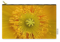 Yellow Poppy Flower Center Carry-all Pouch