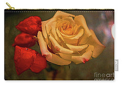 Carry-all Pouch featuring the photograph Yellow Rose And Chinese Lanterns by Diana Mary Sharpton