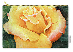Yellow Rose Bloom In Oil Carry-all Pouch