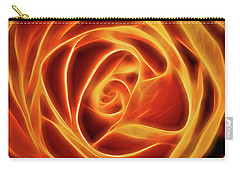 Yellow Rose Glow Square Carry-all Pouch by Terry DeLuco