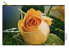 Yellow Rose In The Rain Carry-all Pouch by Janis Knight