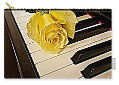 Yellow Rose On Piano Keys Carry-all Pouch