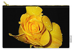 Yellow Rose With Dew Drops Carry-all Pouch