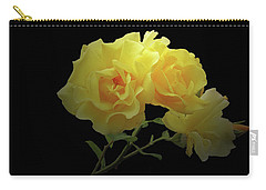 Yellow Roses On Black Carry-all Pouch