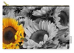 Yellow Sunflower On Black And White Carry-all Pouch