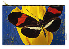 Yellow Tulip With Orange And Black Butterfly Carry-all Pouch by Garry Gay